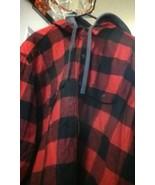 PLAID Jacket HOODIE FEEL Soft cotton exterior CRAFTSMAN RED 2XL BASIC COAT - $37.05