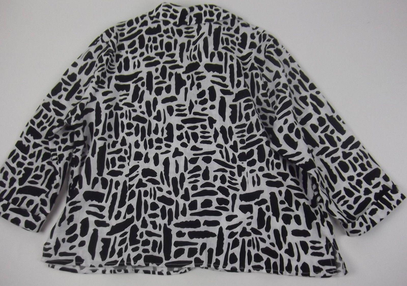 Carole Little Linen Shirt Top 2X Black White 3/4 Sleeve