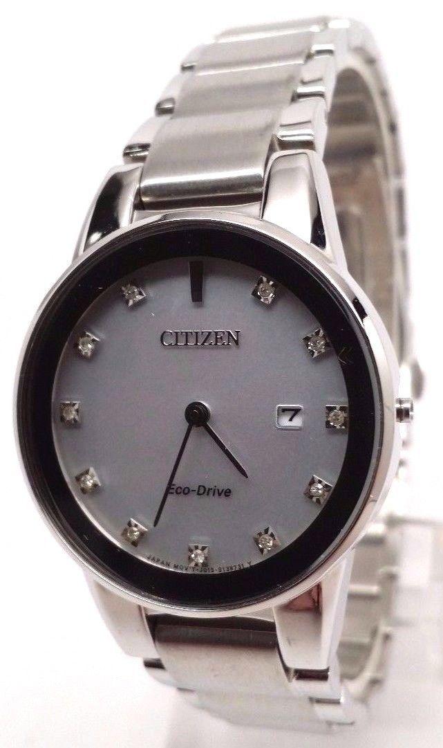 Citizen Eco-Drive Ladies Axiom Diamond Stainless Steel Watch GA1050-51B BROKEN!!