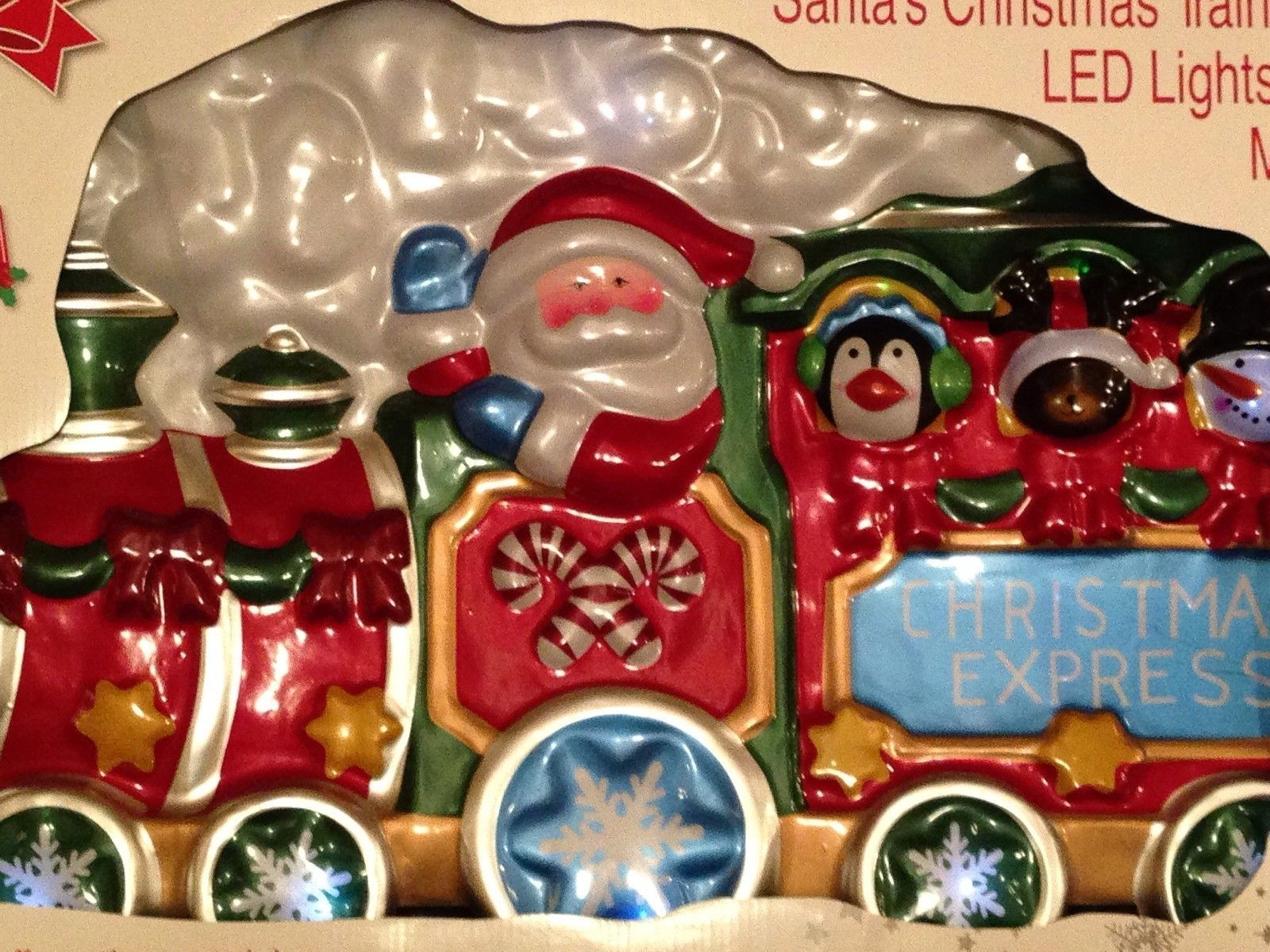 HTF New Santa's Christmas Colorful Train With LED Lights &  Musical  Decoration