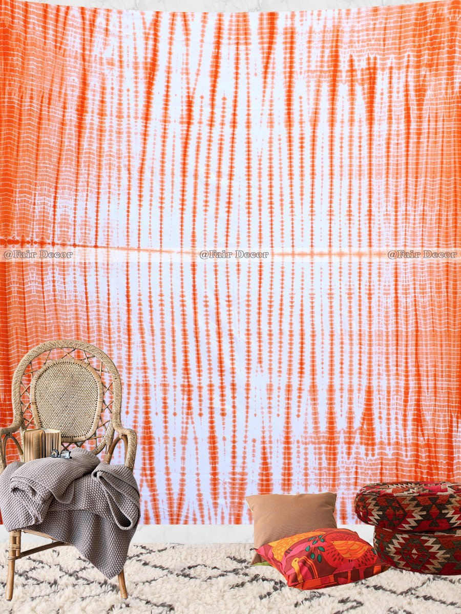 Orange Shibori Queen Size Tie Dye Tapestry Hippie Wall Hanging Wall Decor Tap...