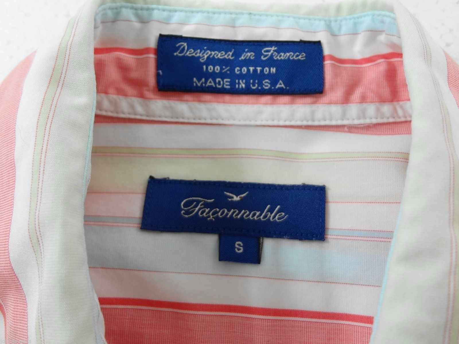 Faconnable Womens S Red Green Blue White Striped Cotton Shirt Made in USA