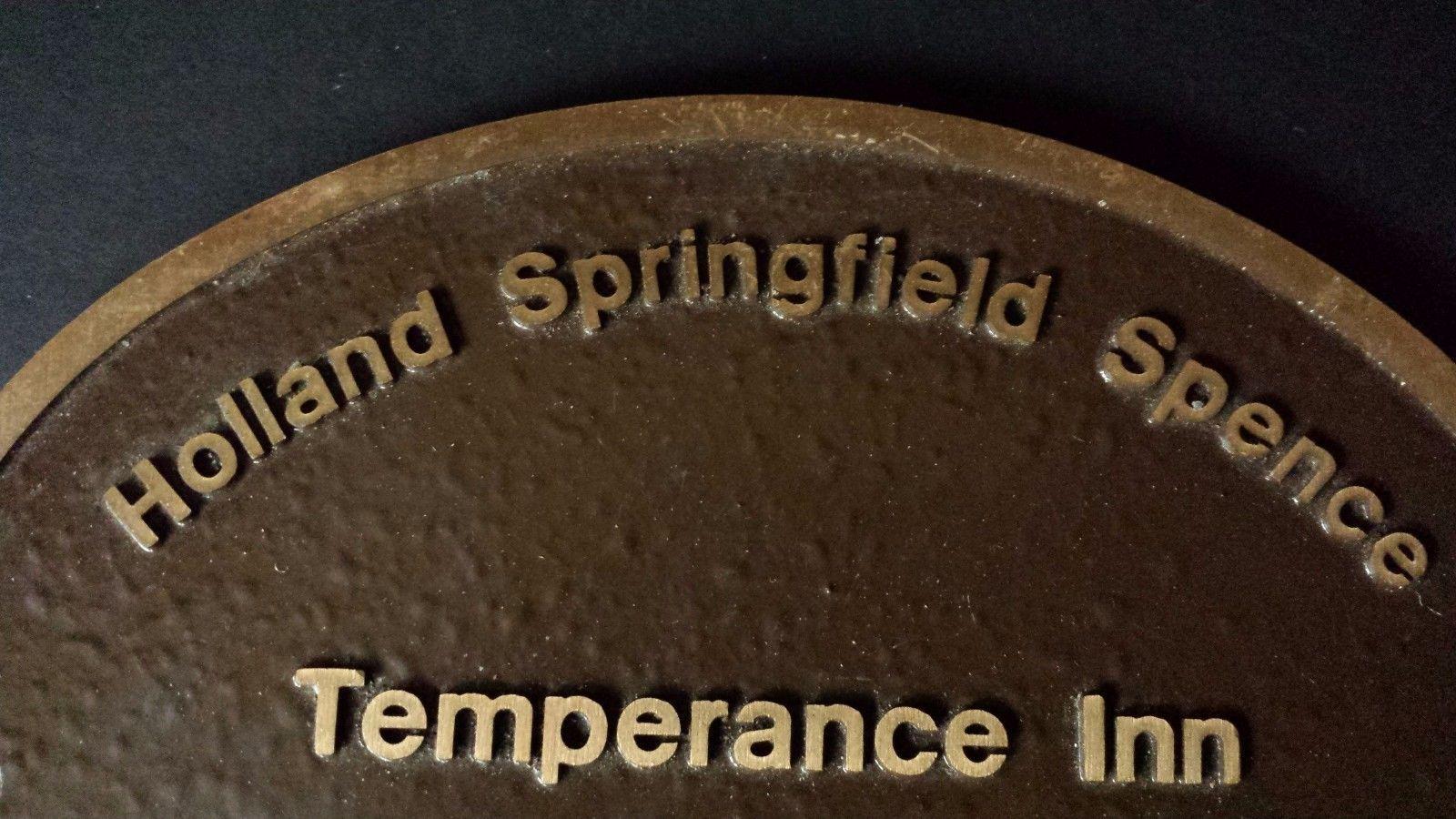 Bronze VTG Historical Society Plaque Ohio Holland Springfield Spence Temperance