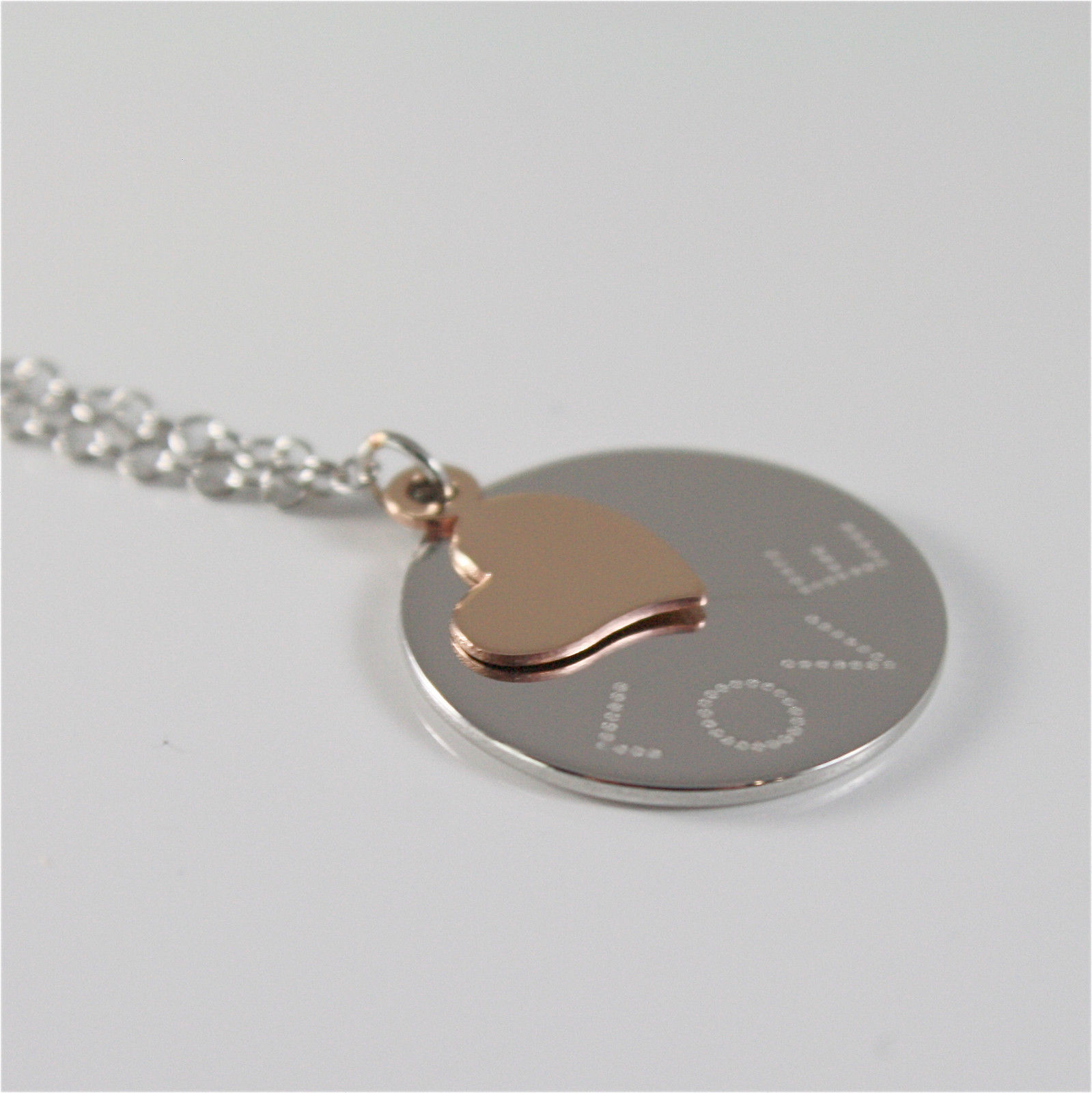 925 RHODIUM SILVER JACK&CO NECKLACE WITH 9KT ROSE GOLD LOVE HEART MADE IN ITALY