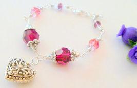 Pink Crystal Swarovski Elements Heart Pendant Bracelet  - $19.99