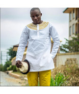 White & Gold Men's Long Sleeve Shirt and Trousers African Clothing Men's... - $85.00