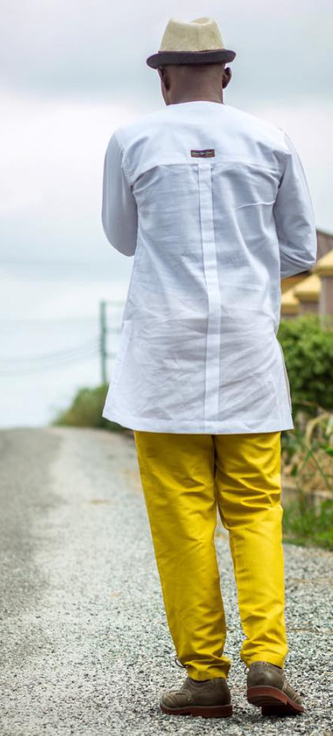 White & Gold Men's Long Sleeve Shirt and Trousers African Clothing Men's Wear