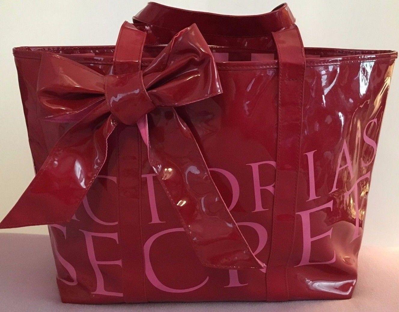 Victoria's Secret Runway Signature Red Bow Patent Beach Travel Tote