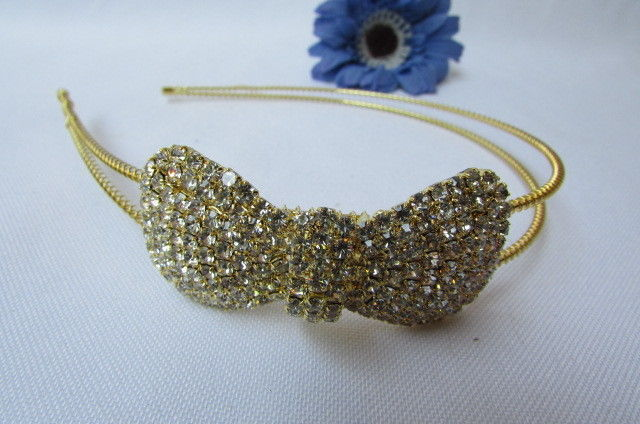 New Women Headband Hair Thin Gold Metal Fashion Big Bow Rhinestones Accesories