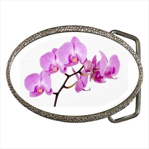 Pink Orchid Chrome Finished Belt Buckle