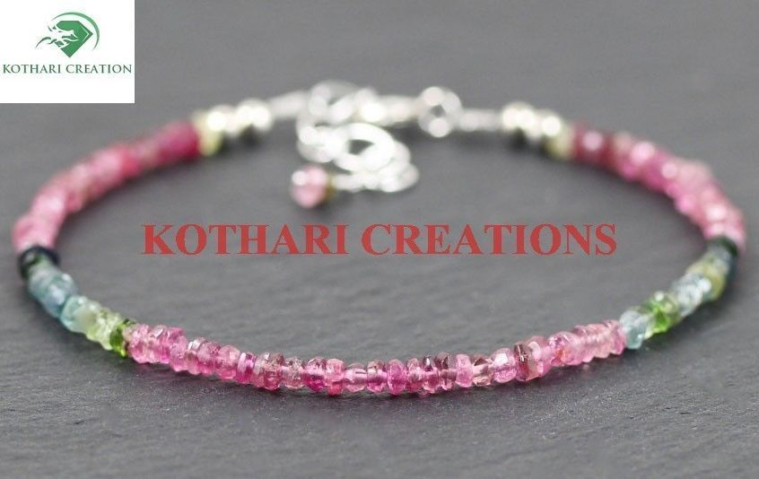 "Natural Multi Tourmaline 3-4mm Rondelle Faceted Beads 7"" Beaded Bracelet Jewelry"