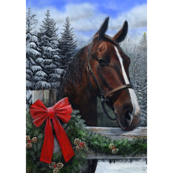 Winter Horse Holiday Flag