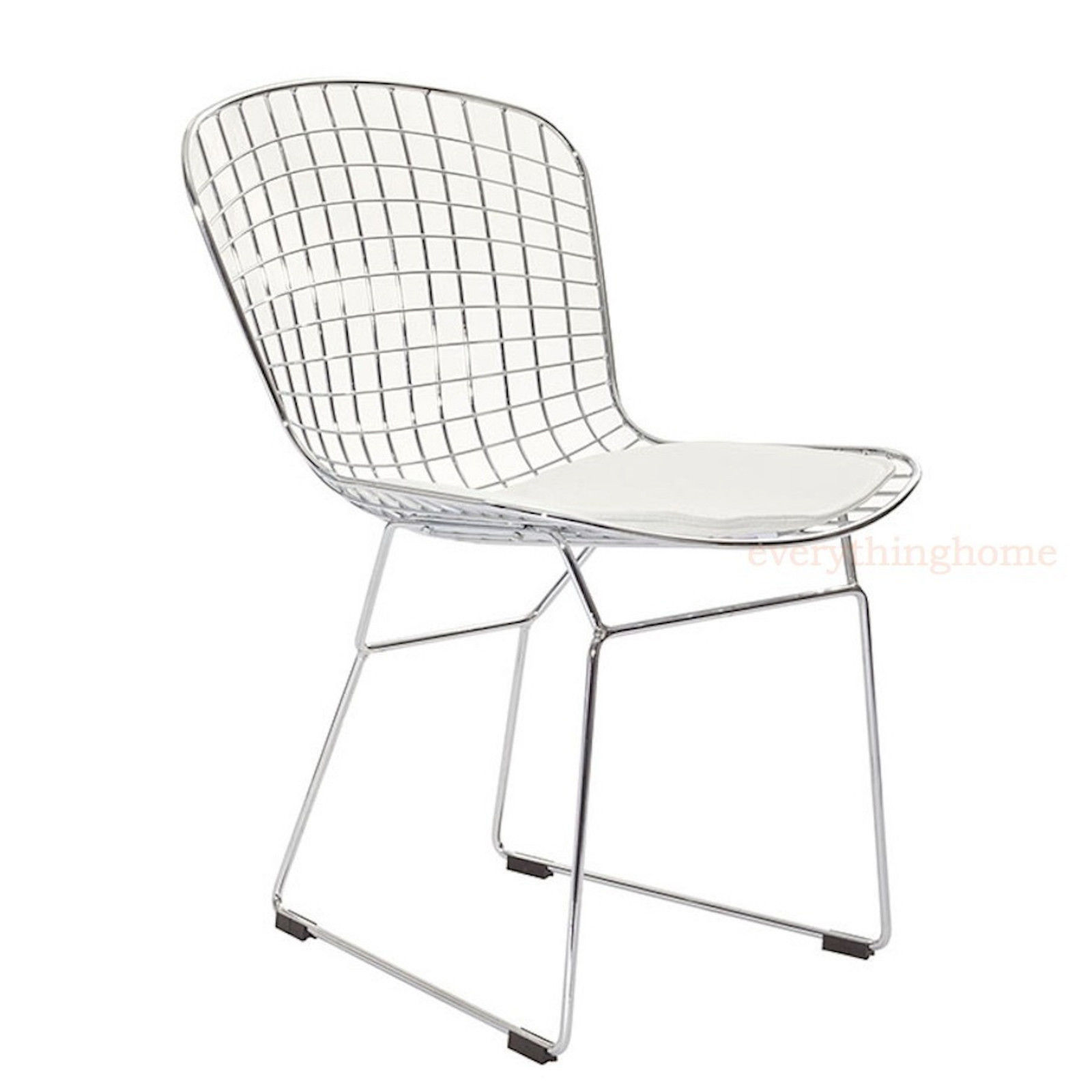 BERTOIA STYLE CHAIR DINING SIDE STEEL WIRE CHROME MESH WHITE PAD -331 LB WT RATE