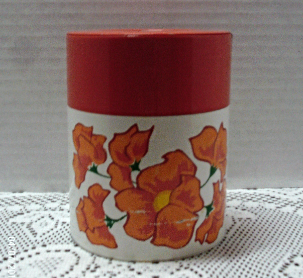 Vintage Vibrant Orange Flower Tin Canister / Coffee/Tea Canister / Retro Kitchen