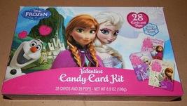Valentine Candy Card Kit Disney Frozen 28 Cards & Lollipops Teacher Card... - $3.99