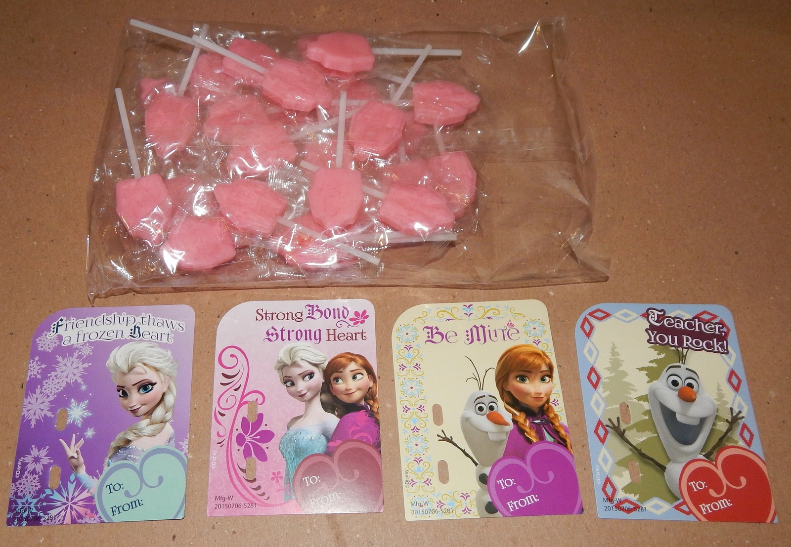 Valentine Candy Card Kit Disney Frozen 28 Cards & Lollipops Teacher Card 101H