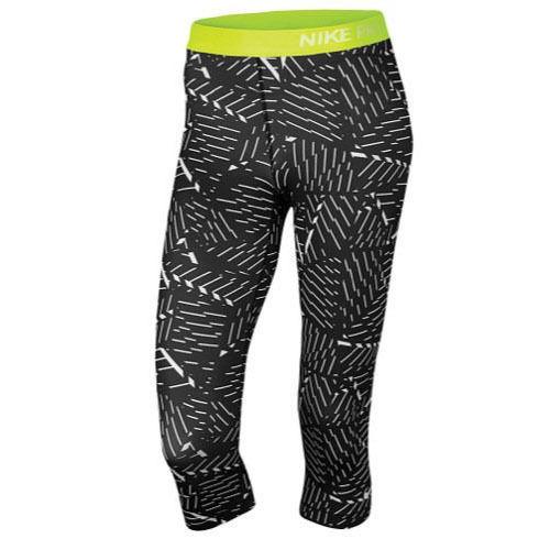 Nike Pro Cropped Leggings, Black / Volt, Sz. XSmall