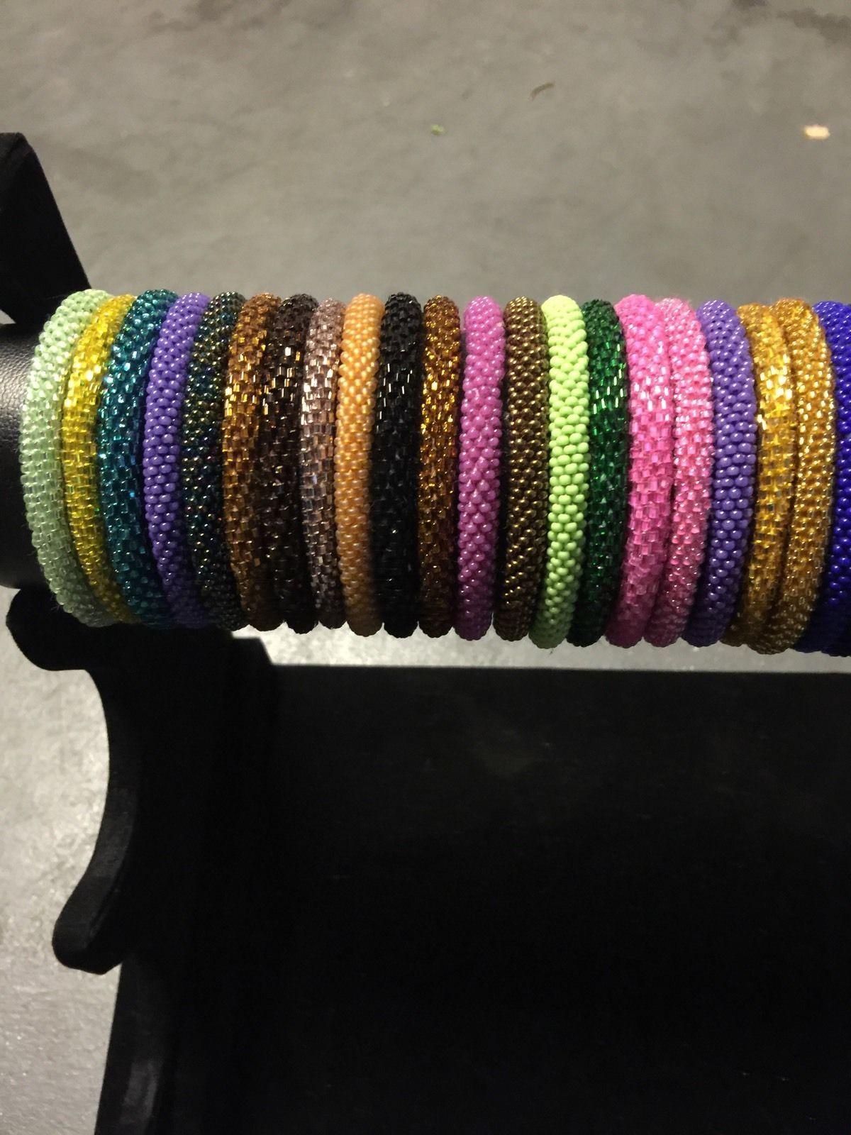 * USA 50 SET Nepal Rolls Glass Seed Bead Bracelet crochet handmade bangle Solid