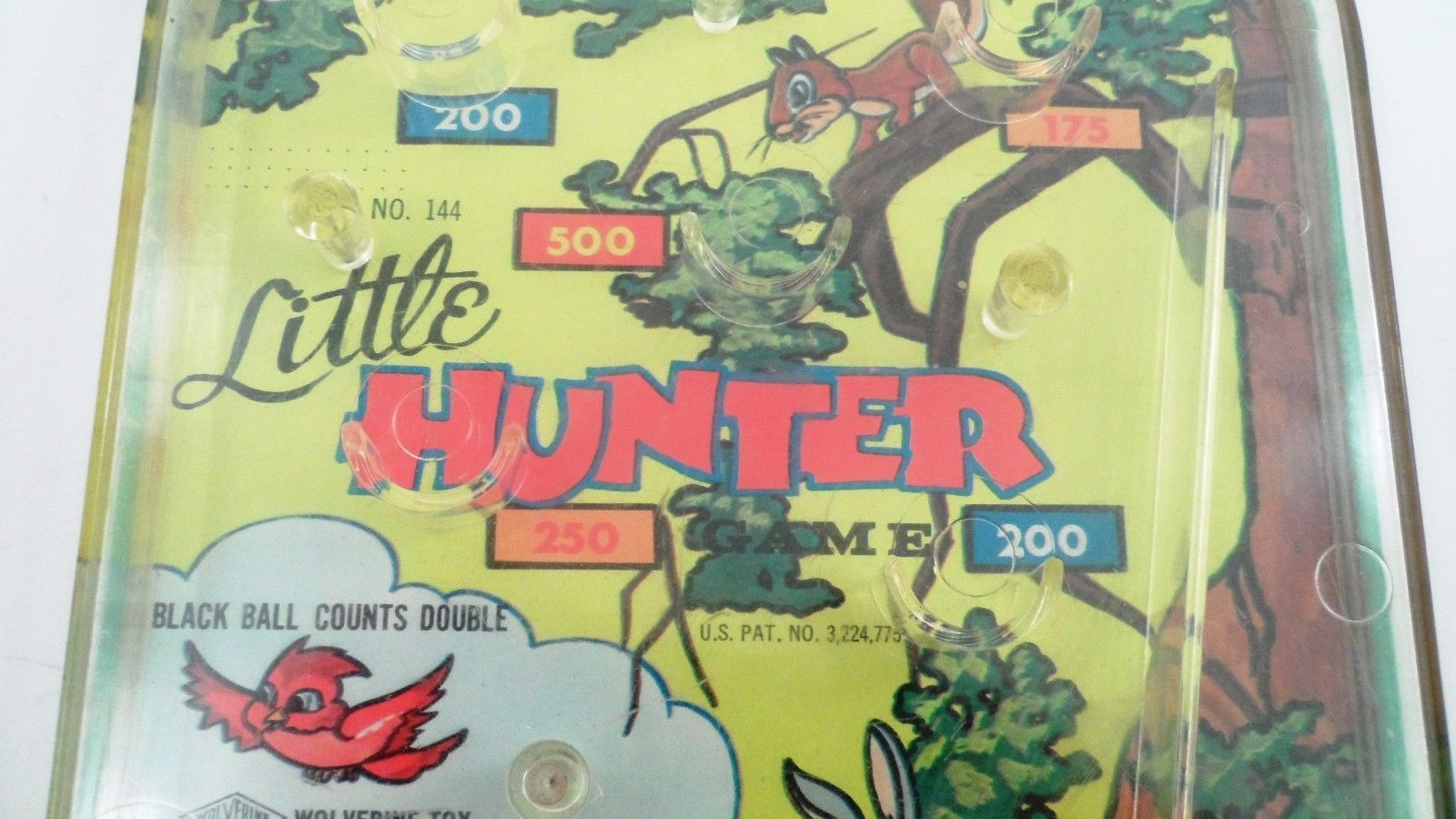 Wolverine Toys Tin Lithograph Litho Little Hunter No 144 Marble Pinball Game Toy
