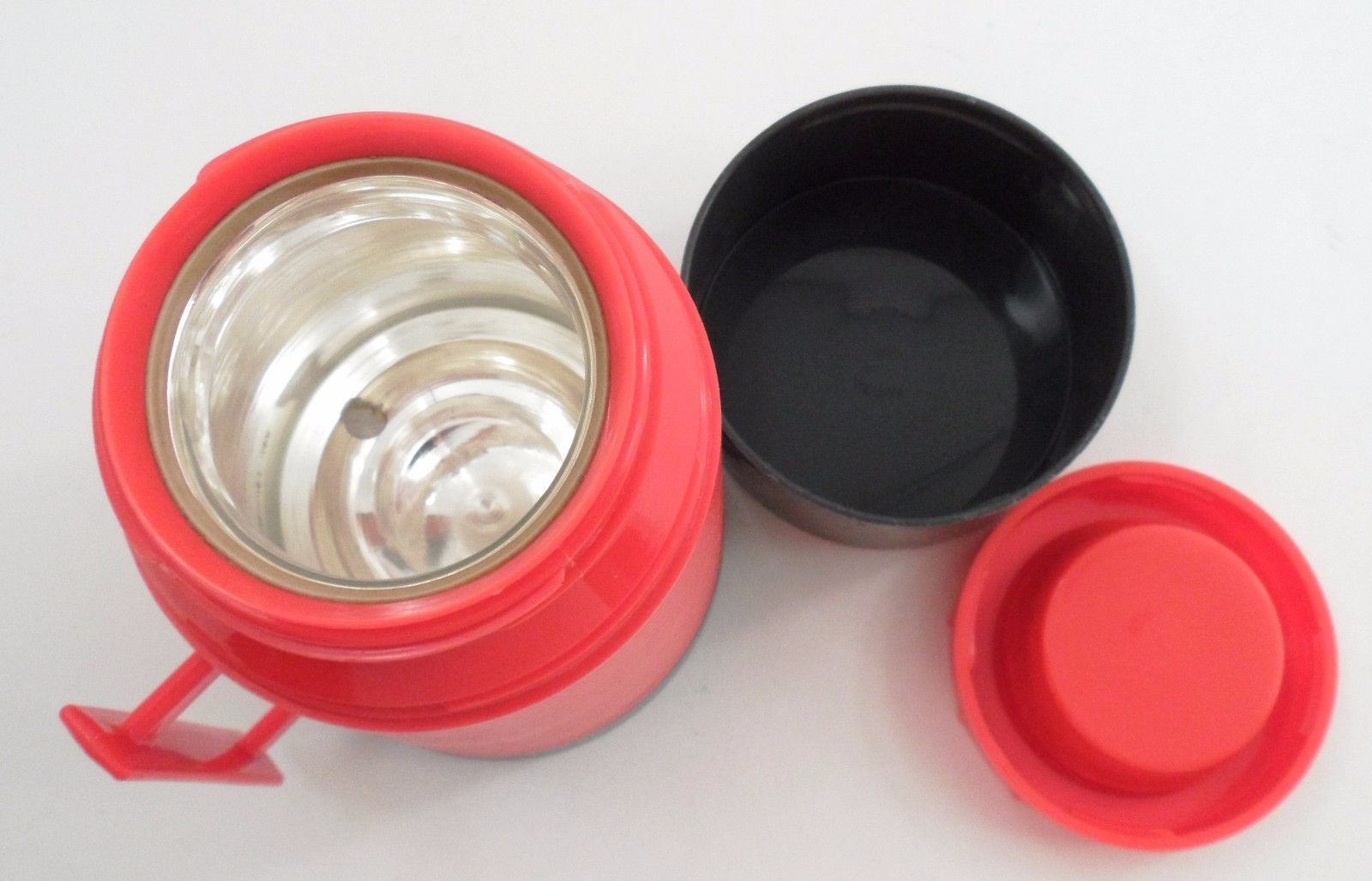 1960s Red Grey Aladdin Dura Clad Wide Mouth Pint Travel Thermos Bottle Container