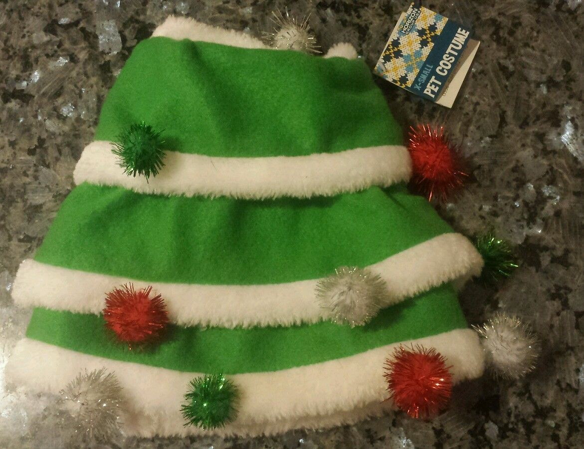 "Green CHRISTMAS TREE HOLIDAY XS pet dog costume with sparkly pom poms NWT 6""-9"""