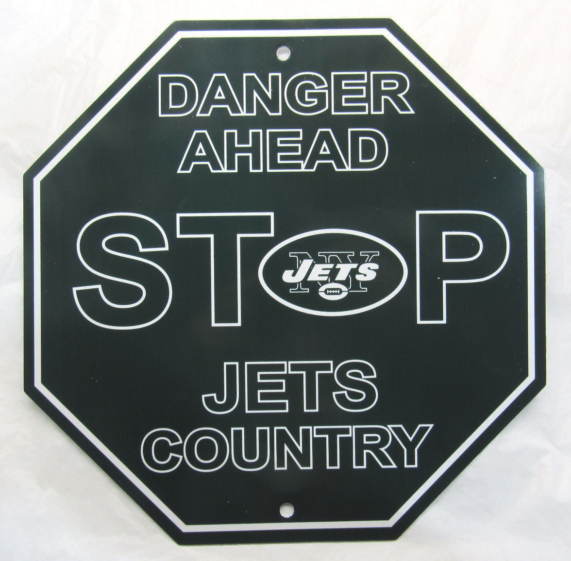"NEW NFL 12""x12"" PLASTIC STYRENE TEAM STOP SIGN NEW YORK JETS"