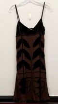 MAX STUDIO Size S Brown Velvet Leaf Chiffon Spaghetti Strap Dress - $39.00