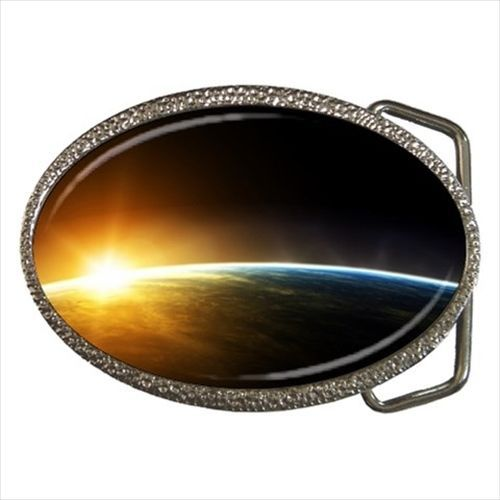 Space Sunrise over Earth Belt Buckle