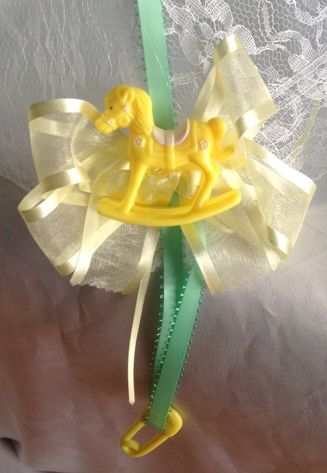 "36"" White Lace baby shower umbrella yellow rocking horses green ribbons"