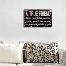 Wood Wall Hanging Sign Decorative Plaque A True Friend Black - $15.95