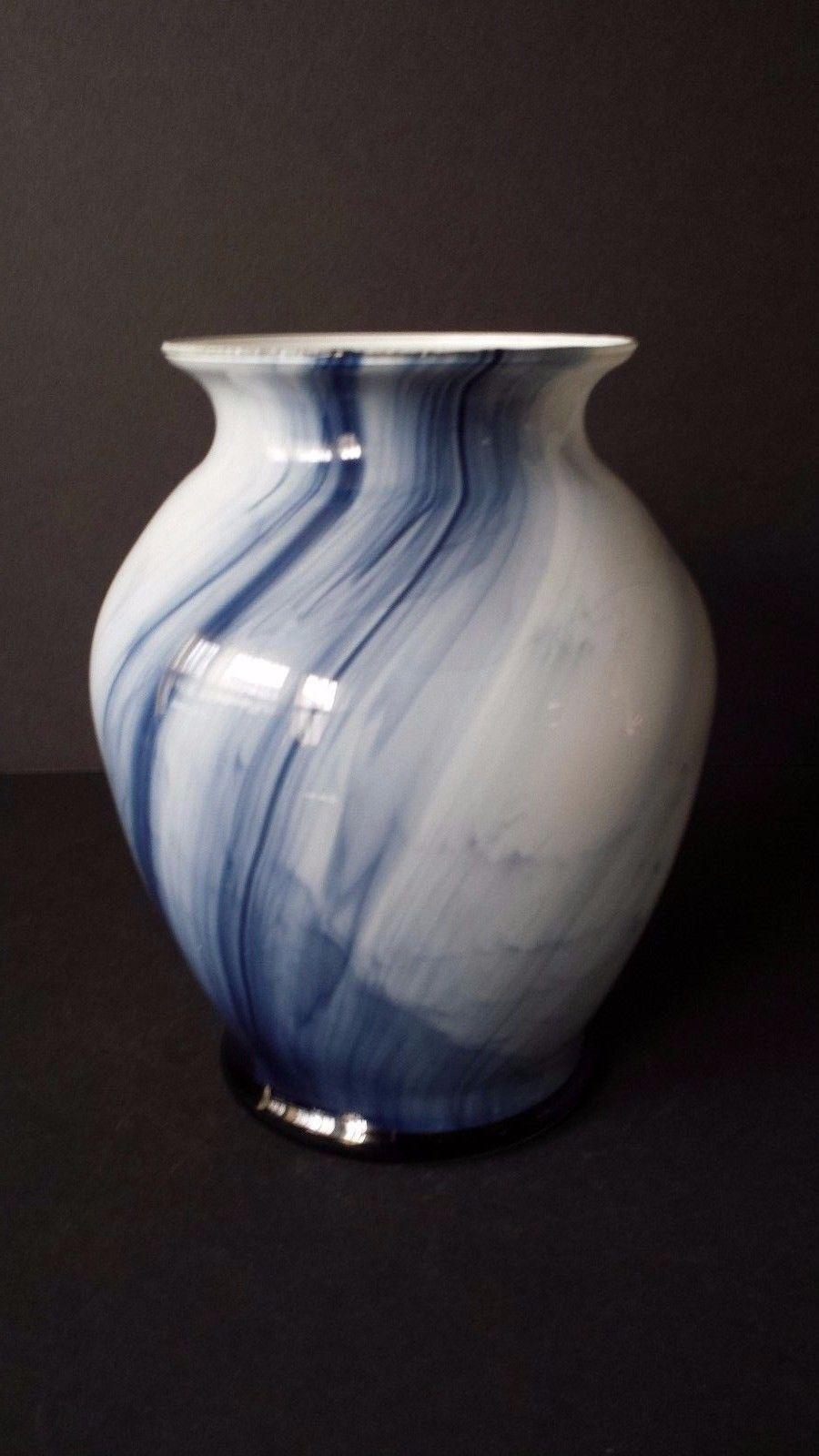"""Blue White Vase Bowl 7"""" x 6"""" Spill Decor"""
