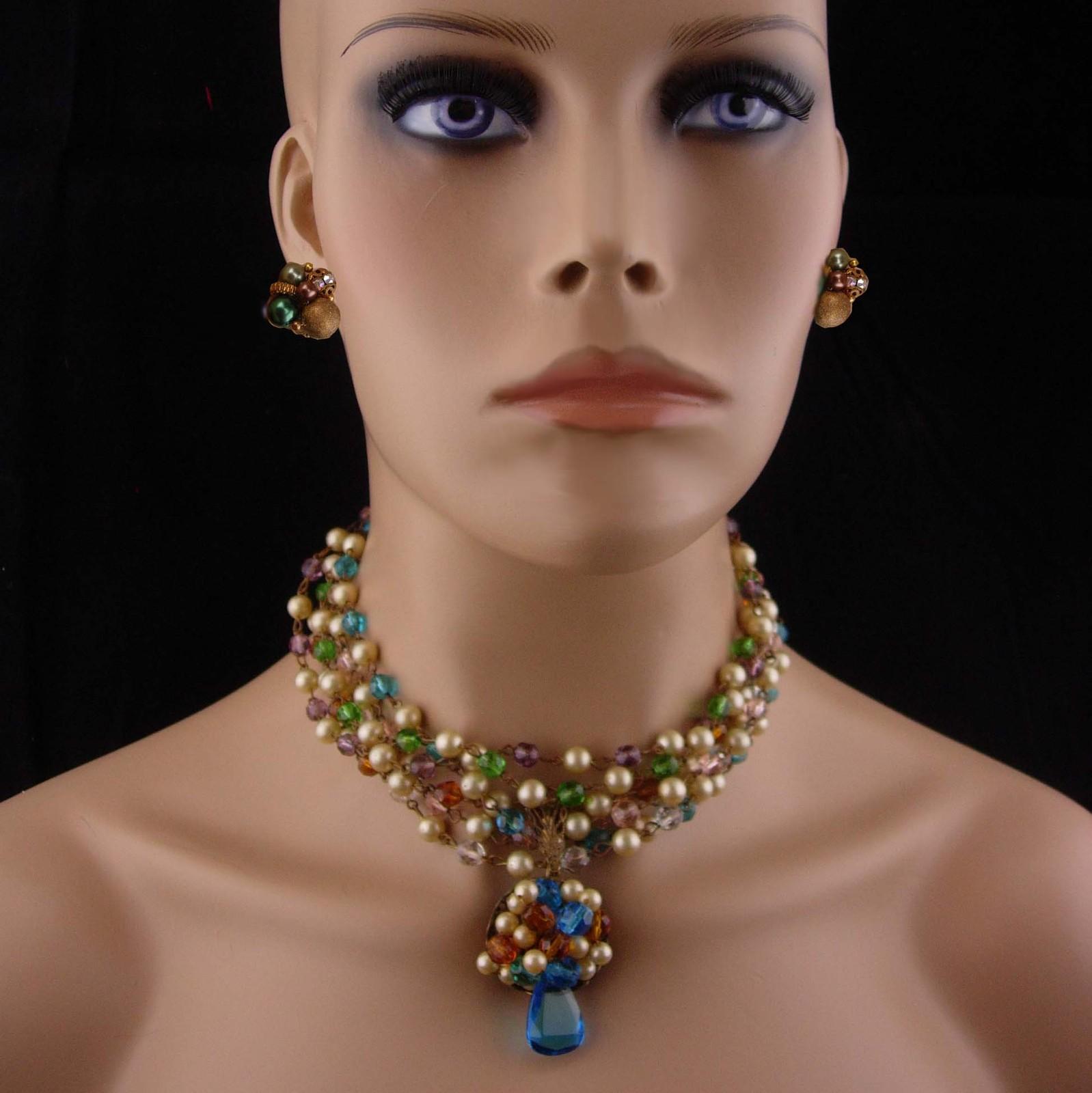 Vintage necklace / clip on beaded earrings/ FABULOUS Cluster choker & Earrings /