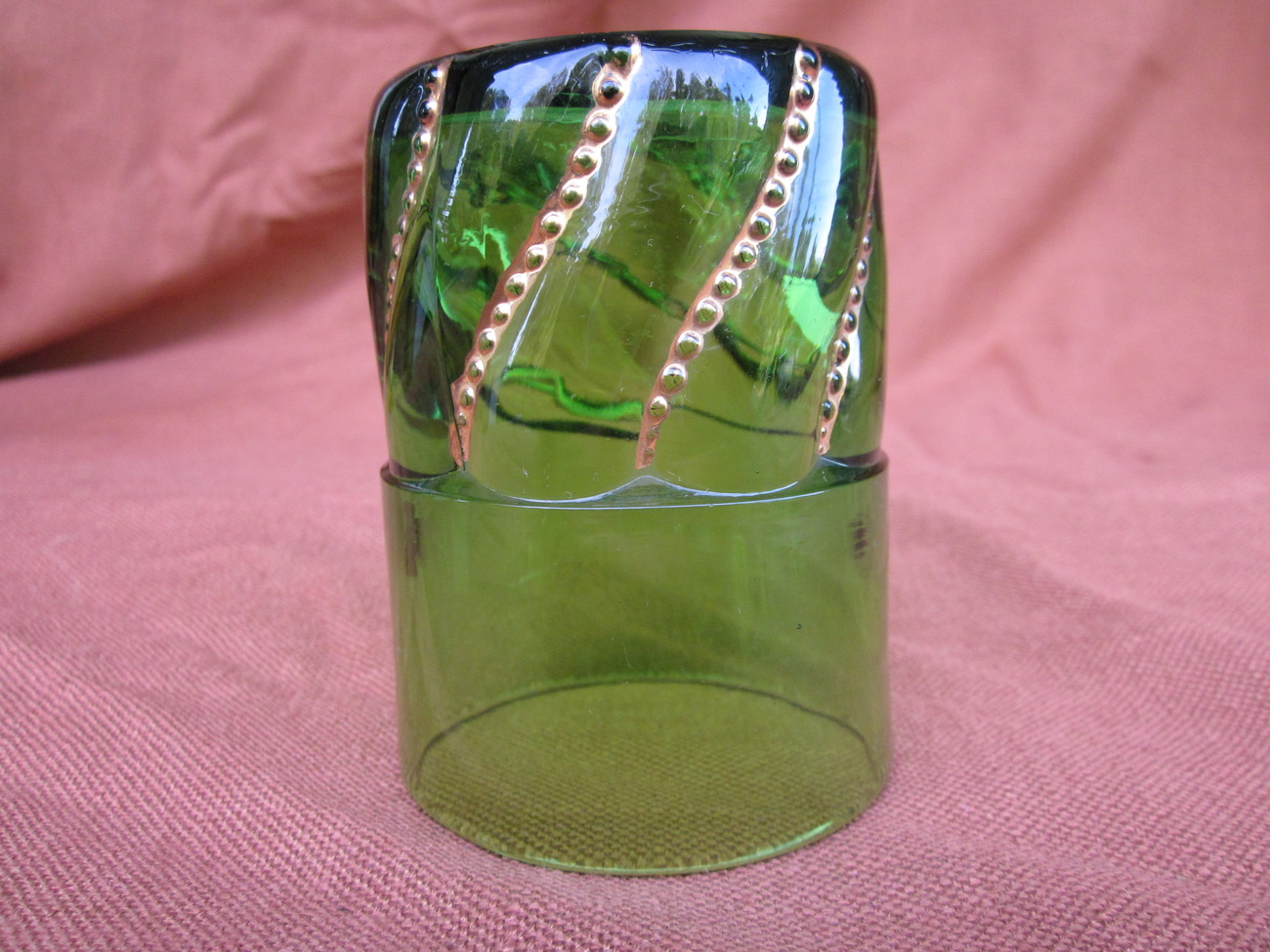 Beaded Swirl Tumbler Green and Gold George Duncan Antique Glass Cup