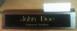 Solid Walnut Desk Name Plate with Business Card... - $17.50