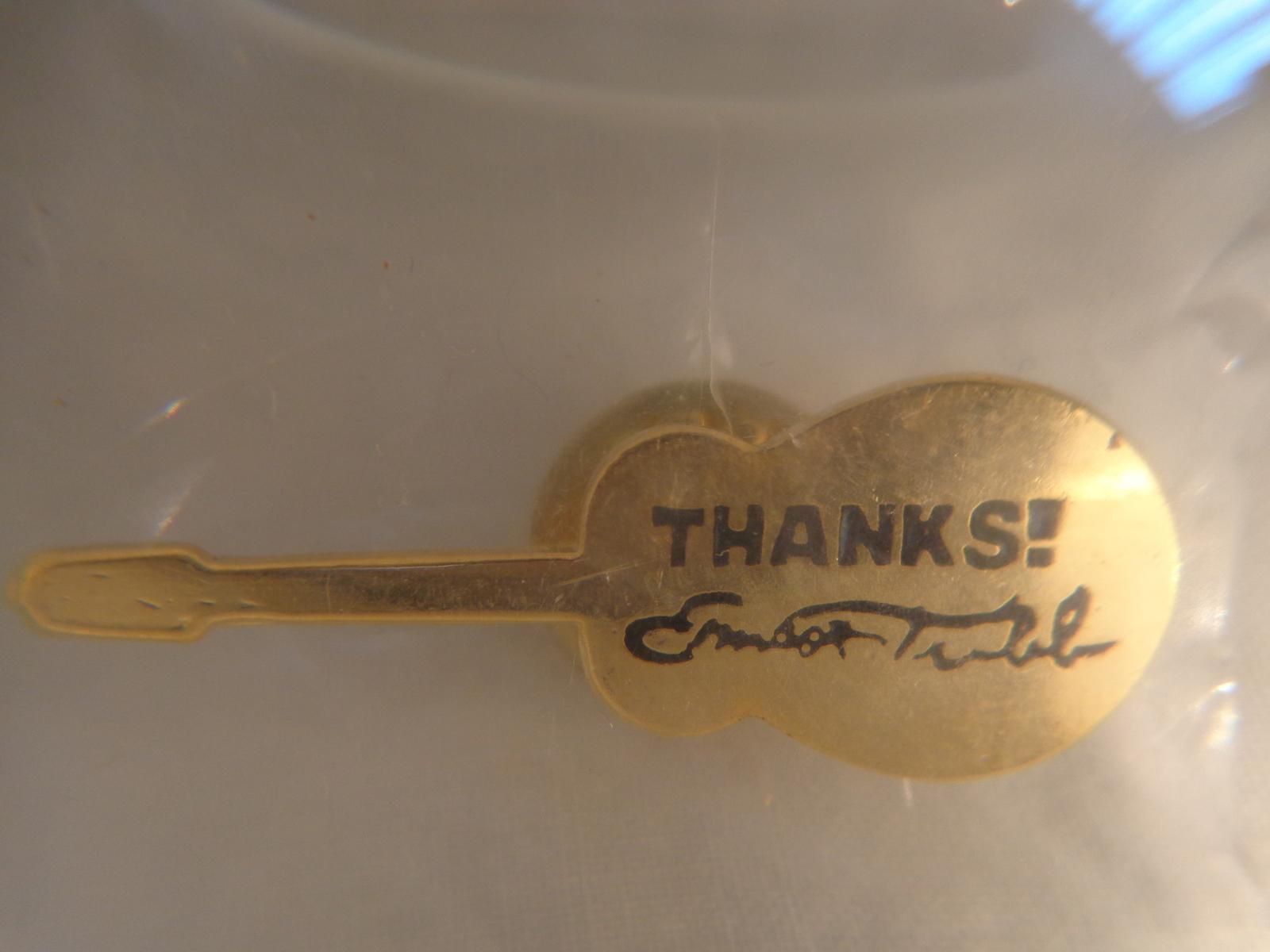 "EARNEST TUBB ""THANKS!"" GUITAR SHAPED PIN (#1795)"