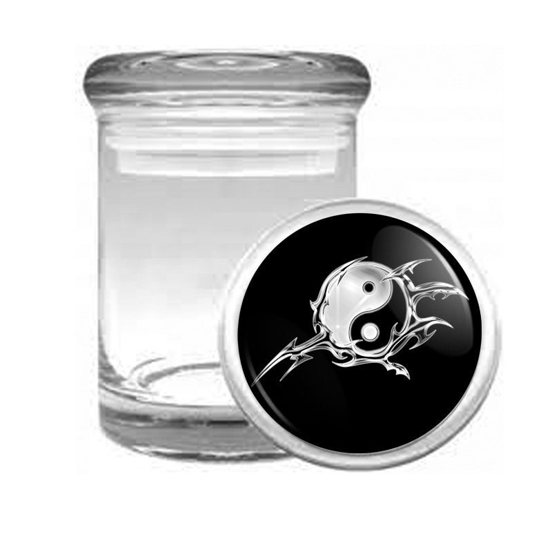 YIN & YANG D7 ODORLESS AIR TIGHT MEDICAL GLASS JAR CONTAINER TAOISM