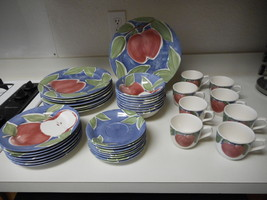 Nikko Appleby Stoneware by Home Plate 39 Piece Dish Set Plates Cups Bowls - $197.99