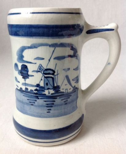 Vintage Delfts Holland Mug Stein Handpainted Windmill 444 As Is