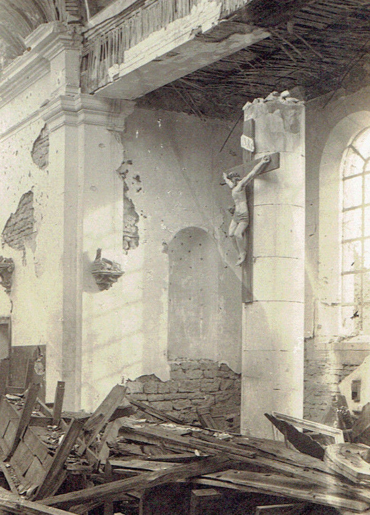 WW1 Original Post Card Photo Crucifix Remains Undamaged in Ruined Church France