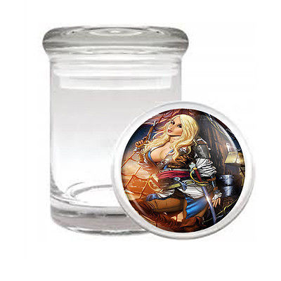 SAVAGE PIRATE PIN UP D8 ODORLESS AIR TIGHT MEDICAL GLASS JAR CONTAINER SEXY