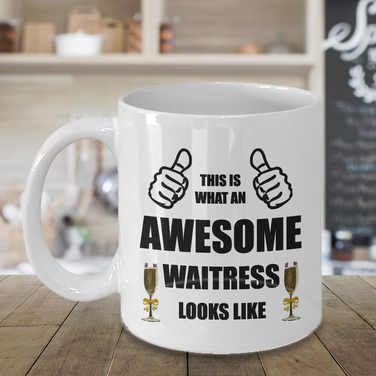 Personalized Custom Awesome Waitress Coffee Mug Birthday Gift For ServerWoman He