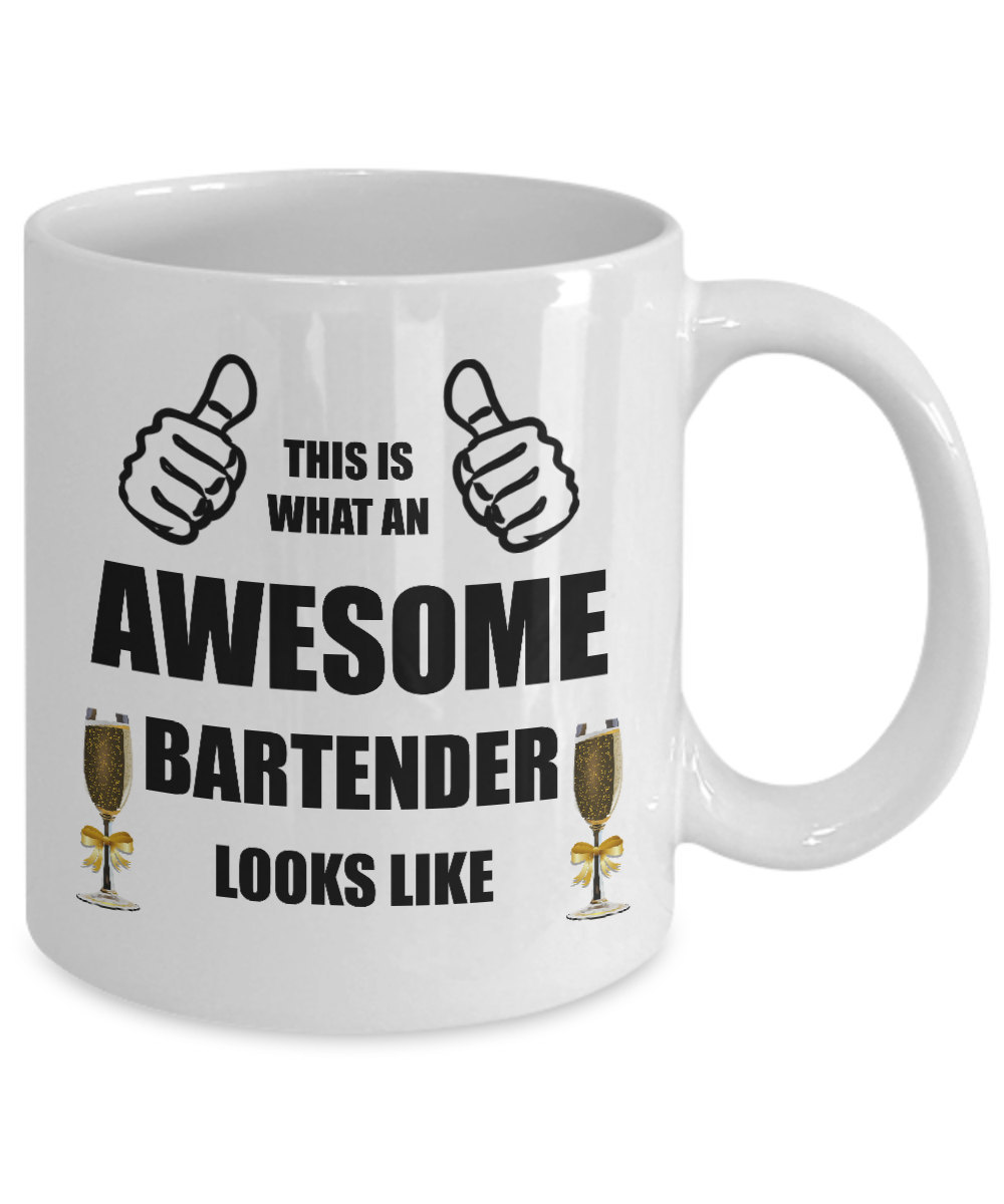 Funny Personalized Awesome Bartender Coffee Mug Birthday Gift For Him Her Men Wo