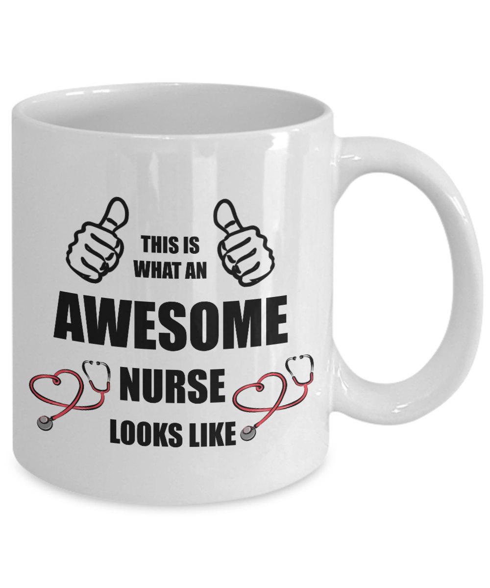 Personalized Custom Awesome Nurse Coffee Mug Birthday Gift For Nurse Woman Her W