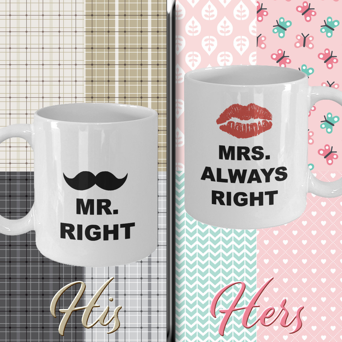 Funny Coffee Mug Set Gift For Him Her Men Bride Wedding Women Dad Mom Father Mot