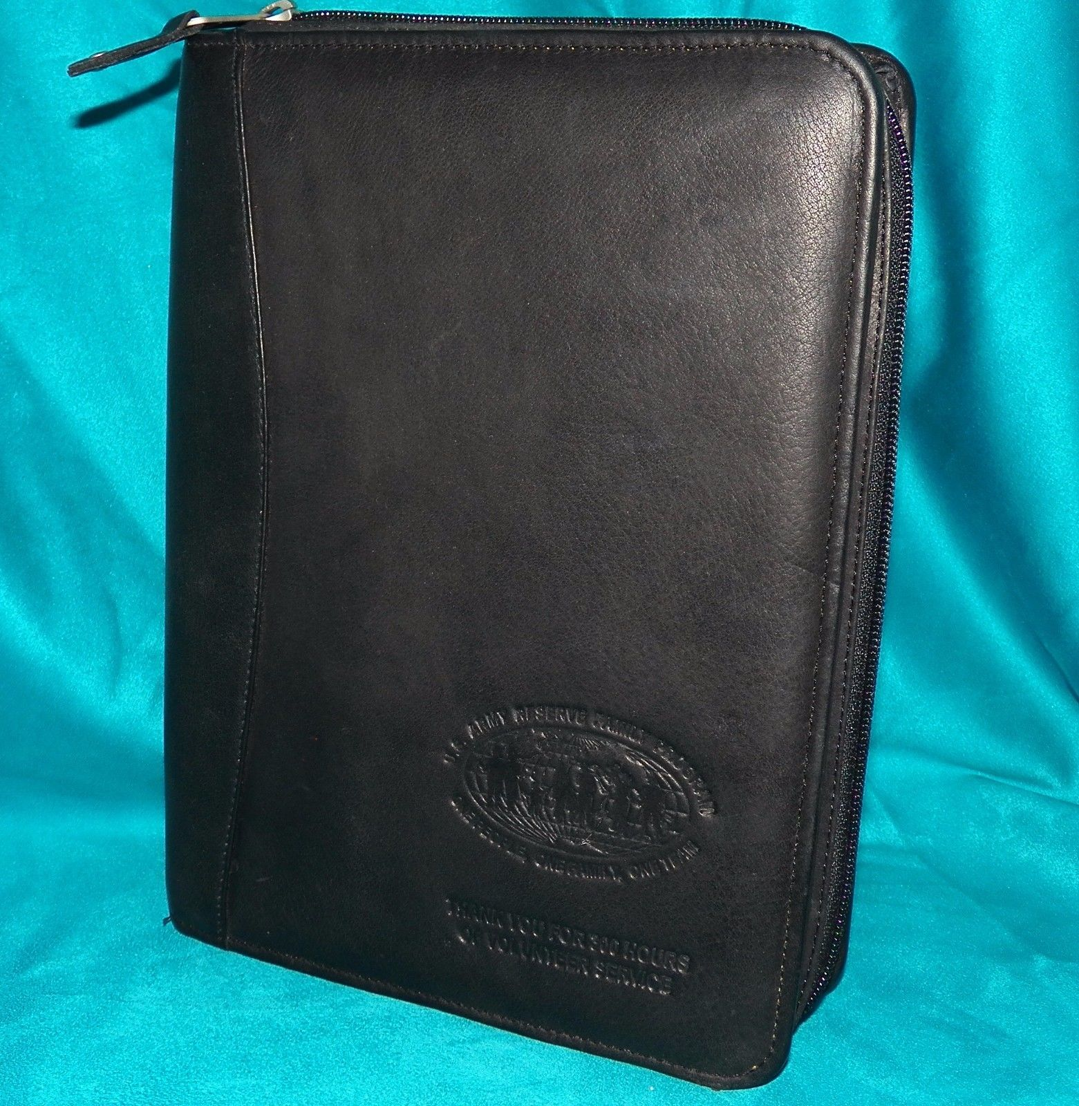 Canyon Outback Black Leather Agenda 7 Ring Planner Diary US Army Reserve 8 x 11