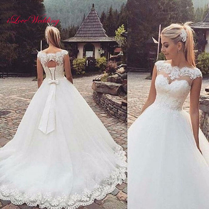 Elegant White Tulle Lace Ball Gown Wedding Dresses Formal Bridal Gowns Custom