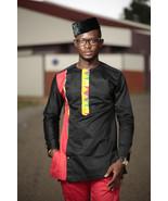 Kente & Black Cotton Men's African Clothing Men's Fashion African Men's ... - $85.00