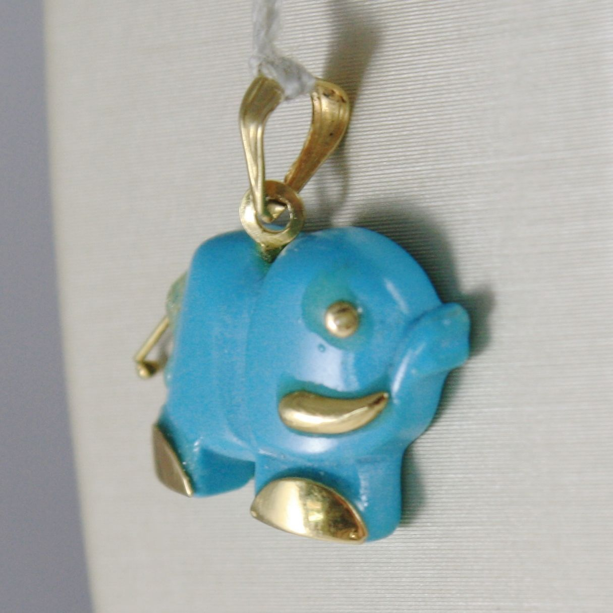 SOLID 18K YELLOW GOLD ELEPHANT PENDANT CHARM TURQUOISE, BLUE, MADE IN ITALY