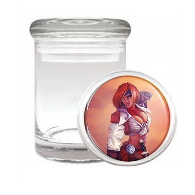 SAVAGE PIRATE PIN UP D21 ODORLESS AIR TIGHT MEDICAL GLASS JAR CONTAINER SEXY