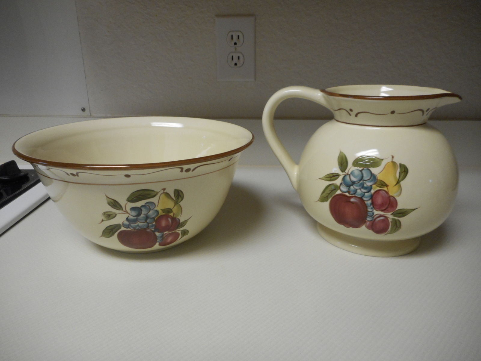 Around The Orchard Home Brand Stoneware Fruit Pattern Large Bowl & Pitcher